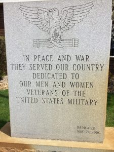 Military Veterans Memorial at Township Hall