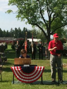 Service at Olive Township Cemetery.