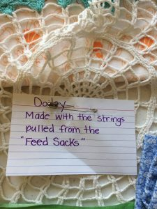 Doilies from feed sack string.