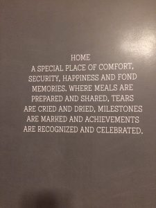 A sign hung on the wall at one of the homes.