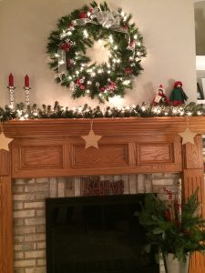 Decorated fireplace mantle.