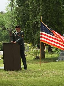 Vietnam War Veteran speaks at Memorial Day Service.