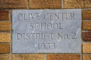 Olive Center Schoolhouse cornerstone.