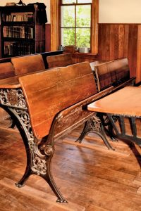 Vintage two seater schoolhouse desks.